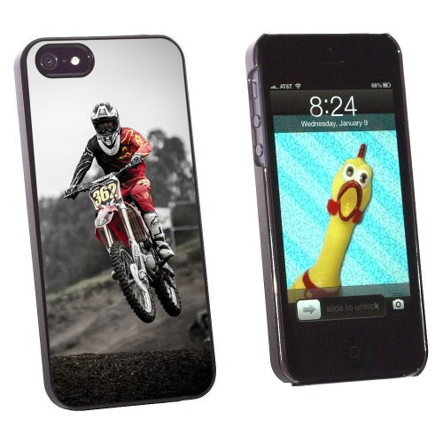 Graphics and More Dirt Bike Off Road Racing Snap-On Hard Protective Case for Apple iPhone 5/5s - Non-Retail Packaging - Black (Dirt Graphic)