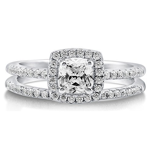 BERRICLE Rhodium Plated Sterling Silver Cubic Zirconia CZ Halo Engagement Ring Set Size 7 by BERRICLE (Image #1)