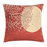 Ambesonne Spring Throw Pillow Cushion Cover, Cherry Blossom Sakura Tree Branches on Moon Japanese Style Illustration, Decorative Square Accent Pillow Case, 28 X 28 Inches, Coral Pale Yellow Plum