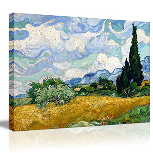 (Canvas Prints Giclee Wall Painting Print Photo on Stretched Canvas Famous Gallery Wrapped Oil Painting Plant Tree Artworks by Van Gogh- Field with Cypresses Framed Wall Art Picture Picabala-28×20