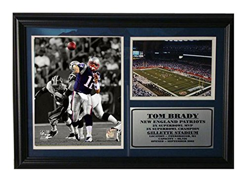 Tom Brady Pictures (Encore Select 126-33 NFL New England Patriots Framed Tom Brady Photo and Gillette Stadium Print, 12-Inch by 18-Inch)