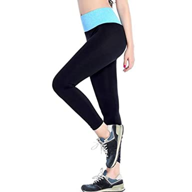 1757cb18a218 Yoga Pants for Women Wugeshangmao Ladies High Waist Patchwork Fitness  Leggings Running Sport Nine Points Pants: Clothing