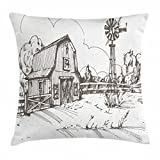 Ambesonne Windmill Decor Throw Pillow Cushion Cover, Rustic Barn Farmhouse Hand Drawn Illustration Countryside Rural Meadow, Decorative Square Accent Pillow Case, 18 X 18 Inches, Taupe White Review