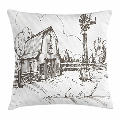 Ambesonne Windmill Decor Throw Pillow Cushion Cover, Rustic Barn Farmhouse Hand Drawn Illustration Countryside Rural Meadow, Decorative Square Accent Pillow Case, 18 X 18 Inches, Taupe White