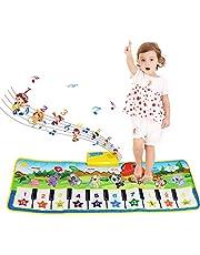 NEWSTYLE Muziekmat voor kinderen, dansmat, pianomat voor kinderen, pianotoetsenbord muziek piano mat tapijt, 8 instrumenten geluid muziek speelgoed voor baby kinderen jongens meisjes (100 x 36 cm)