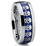 Metal Masters Co.® Dome Stainless Steel Ring Band with Blue Carbon Fiber and Skull Design