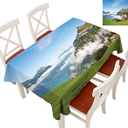 Mountain Fabric Dust-Proof Table Cover Pastoral View Switzerland Lake Lucerne Cloudy Grassland Pines Altdorf Uri Waterproof/Oil-Proof/Spill-Proof Tabletop Protector Blue Green White 60