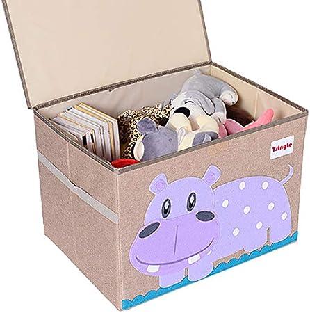 TsingLe - Baúl de almacenamiento con tapa, tamaño grande, de tela, para guardar juguetes, libros y ropa de cama, 36 x 52 x 35 cm, 65 L: Amazon.es: Hogar