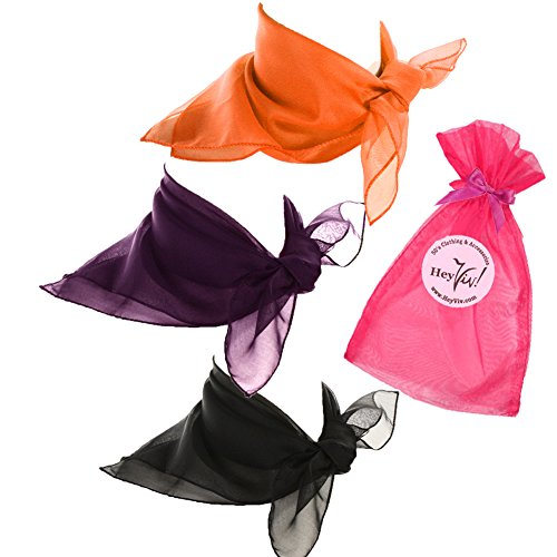 Black, Orange, and Purple Sheer Chiffon Scarves - Spooky Halloween Witch Costume Scarf Set (Dance Worship Costumes)