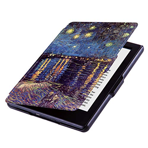 Huasiru Painting Case for Kindle 8th Gen 2016 (Dimensions 6.3 x 4.5 x 0.36 Inches) ONLY - Cover with Auto Wake/Sleep, Starry Night