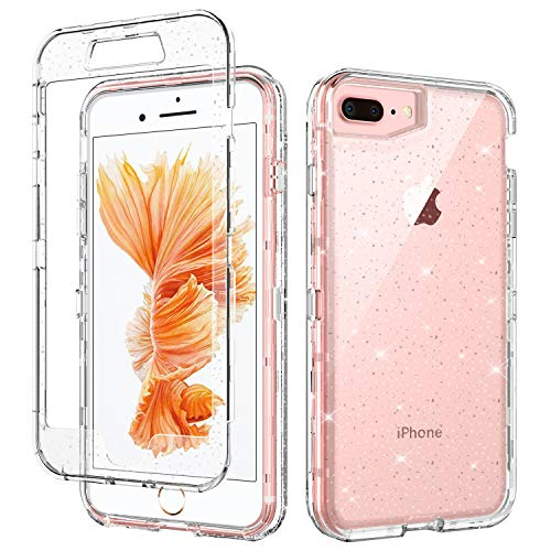 - iPhone 8 Plus Case iPhone 7 Plus Case GUAGUA Glitter Bling Clear Crystal Shiny Cover for Girls Women Three Layer Hybrid Hard PC+ Soft TPU Shockproof Protective Phone Case for iPhone 8 Plus/7 Plus