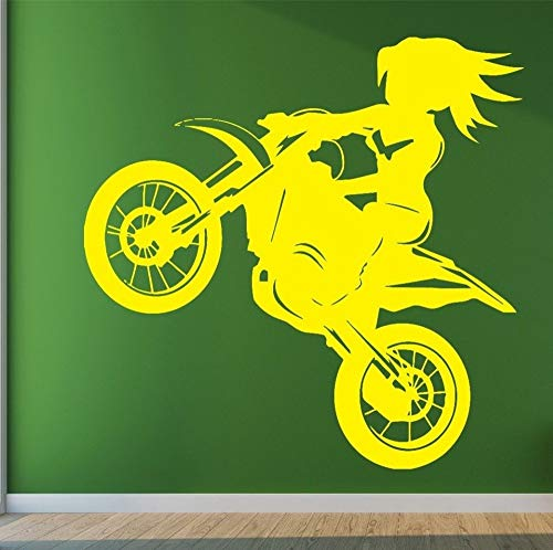 - Environmental Movement Motorcycle Girl Wall Stickers Living Room Bedroom Home Decorative Arts Mural Vinyl Wall Decals Y-23