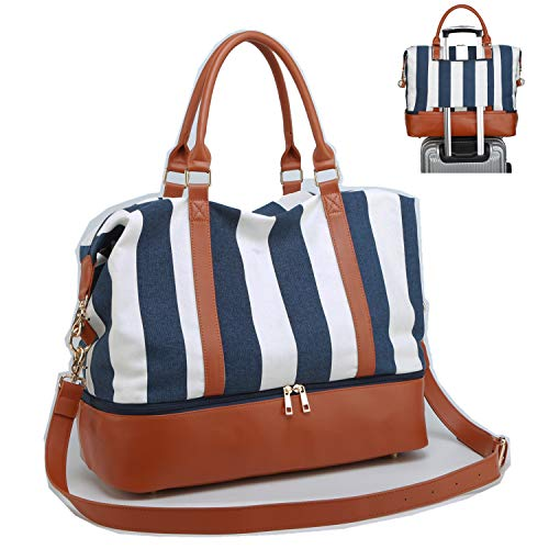 CAMTOP Women Ladies Weekender Travel Bag Canvas Overnight Carry-on Duffel Tote Luggage (Blue with Shoe Compartment)