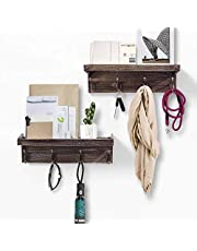 AHDECOR Entryway Floating Wall Mounted Coat Rack, Storage Hanging Shelf with 4 Durable Hangers