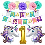 Unicorn 1st Birthday Decorations First Party 40inch 1 Number Balloon 34inch Unicorn Balloons Glitter Happy Birthday Banner Paper Pom Poms Kit for Baby Girls