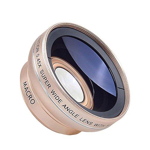 CaméRa De TéLéPhone 12.5-Fold Objectif Macro HD SLR Camera & 0.45 X Grand-Angle-Inox Smartphones Mobiles Universels AdaptéS à Tout Endroit Photographique