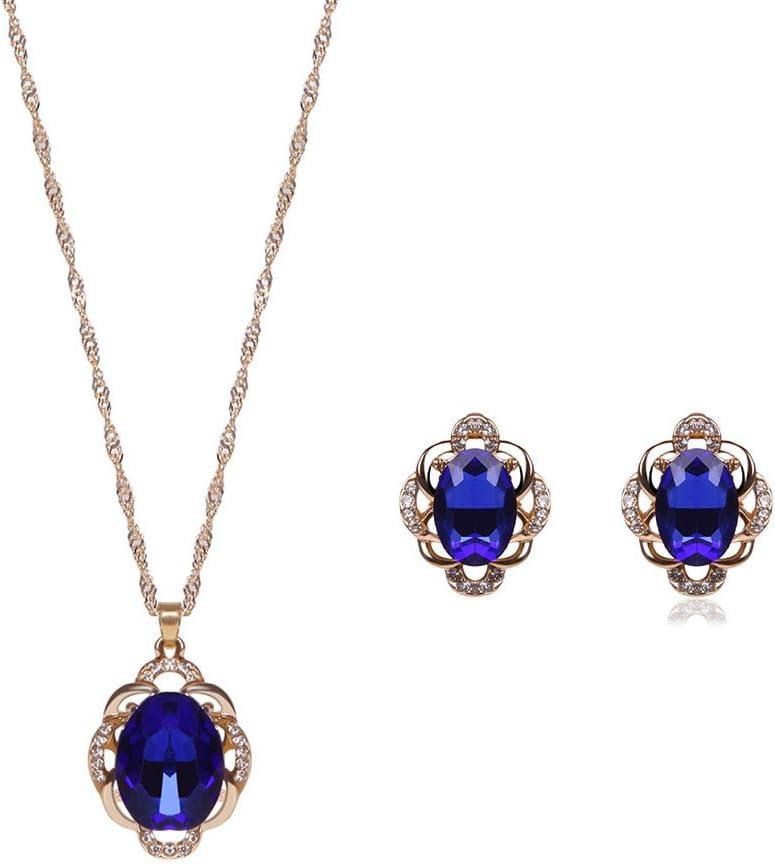 Fansi 2pcs Piedras Preciosas Zircon Collar Pendientes Conjunto de Joyas (Azul Oscuro)