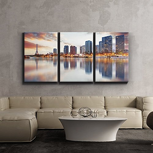 3 Piece Canvas Print - Contemporary Art, Modern Wall Decor - Paris sunset with the Eiffel Tower - Giclee Artwork - Gallery Wrapped Wood Stretcher Bars - Ready to Hang- - Eiffel Wood