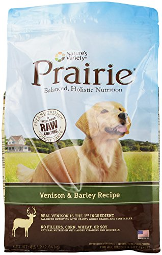 NATURE'S VARIETY 699127 4-Pack Prairie Kibble Venison/Barley Recipe for Dog, 4.5-Pound