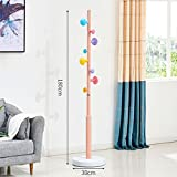 XM ZfgG Wrought Iron Coat Rack Floor Practical Simple Modern Bedroom Living Room Hanger Home Children Creative (Color : Pink)