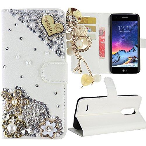 New Design Pu Leather - LG Stylo 3 Case, LG Stylo 3 Plus Case, Best Alice New DIY Design Flip PU Leather 3D Handmade Bling Crystal Diamond Wallet Case [Love tassel and Flower]+ [White]