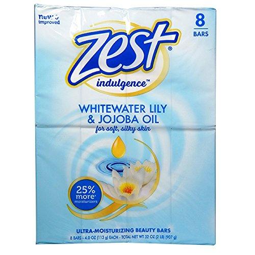 Zest Ultra-Moisturizing Beauty Bars, Whitewater Lily & Jojoba Oil 4 oz - 8 Bars