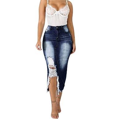 Falda corta para mujer, vaquera, minifalda con material elástico ...