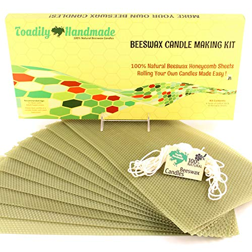Make Your Own Beeswax Candle Kit - Includes 10 Full Size 100% Beeswax Honeycomb Sheets in Avocado and Approx. 6 Yards (18 Feet) of Cotton Wick. Each Beeswax Sheet Measures Approx. 8