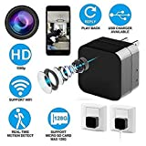 Spy Camera Wall Charger - Spy Camera Wifi - Hidden Wifi Camera 1080P Remote View with APP - Can Charge Phones - Home Security Camera Motion Detection Indoor Camera with Micro SD Card Slot(Up to 128GB)