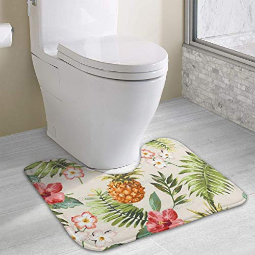 Beauregar Tropical Pineapple Flower Plant Contour Bath Rugs,U-Shaped Bath Mats,Soft Polyester Bathroom Carpet,Nonslip Toilet Floor Mat 19.2″x15.7″
