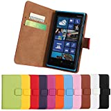 (US) Lumia 920 Case, iCoverCase Genuine Leather Magnetic Flip [Card Slot] Wallet Cover Kickstand Case for Nokia Lumia 920 (Brown)