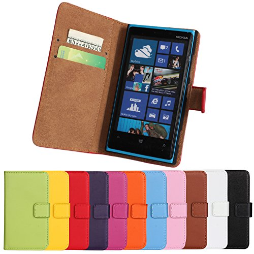 Lumia 920 Case, iCoverCase Genuine Leather Magnetic Flip [Card Slot] Wallet Cover Kickstand Case for Nokia Lumia 920 (Brown) (Nokia 920 Case For Girls)