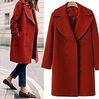 c2c16e3324a Amiley hot sale Loose Winter Trendy Warm Long Sleeve Double Button Wool Pea Jacket  Coat