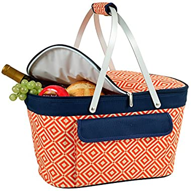 Picnic at Ascot Large Family Size Insulated Folding Collapsible  Picnic Basket Cooler with Sewn in Frame- Orange/Navy