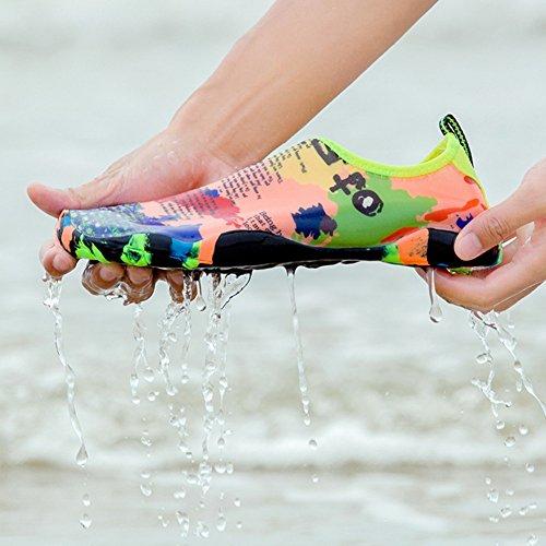 SANBANG Herren Damen Wasser Schuhe Quick-Dry Barfuß Schuhe für Schwimmen Beach Pool Surf Yog Welle Karte