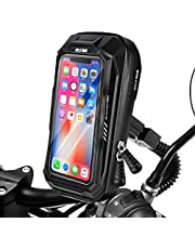 HUANLANG Motorcycle Phone Mount Holder Waterproof Motorcycle Cell Phone Holder with Rain Cover ,360°Rotation Motorbike Rearview Mirror Mount for Phone Bag Large Storage Below 6.5 Inch