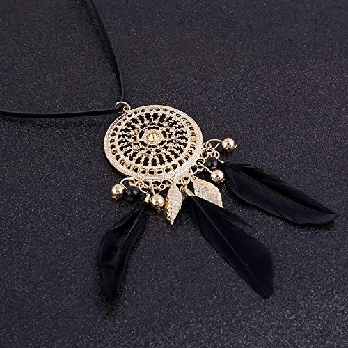 Elegant Feather Long Beaded Black Chain Tassel Necklaces For Women Office Accessory Bohemia Costumes Jewelry Bijoux