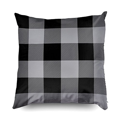 TOMWISH Hidden Zippered Pillowcase rustic gray and black buffalo check plaid 18X18Inch,Decorative Throw Custom Cotton Pillow Case Cushion Cover for Home Sofas,bedrooms,offices,and more ()