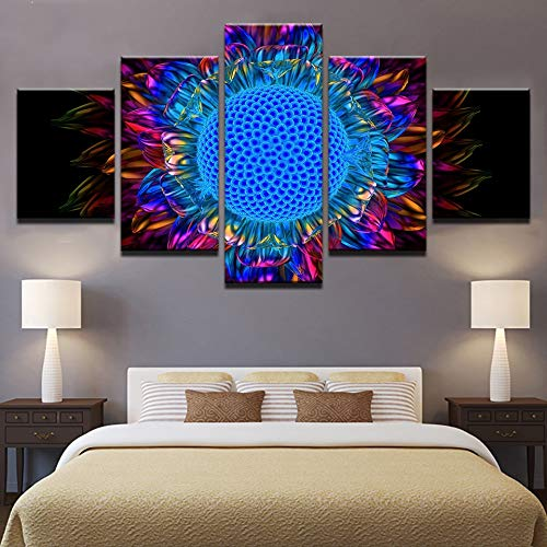 kkxdp Framed 5 Pieces Poster Pictures Home Decor Hd Print Canvas Bedroom Abstract Sunflower Petal Painting Sunburst Daisy Flower Poster Wall-B