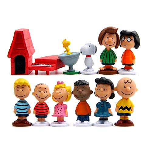 PAPRING Set 12 Peanuts Figures 2 inch PVC Action Figure Charlie Brown Friends Marcie Small Toy Hot Model Mini Gift Christmas Halloween Birthday Gifts Cute Doll Collection Collectible for Kids -
