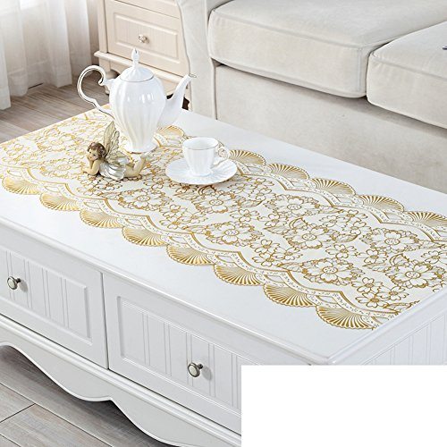 Dresser tv cabinet mat,Gilt silver table cloth,Tea table mats,Plastic rural european tablecloth-F 50x130cm(20x51inch) (Table Gilt Silver)