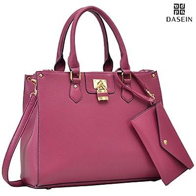 Dasein Women's Designer Leather Satchel Top Handle Shoulder Bag Padlock Tote Handbag w/Coin Purse