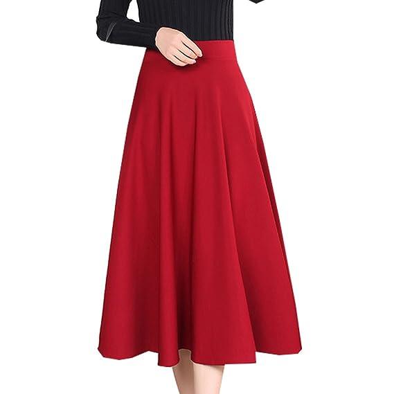 WTUS Mujeres Vintage Falda Midi Plisada A-Line Faldas Larga ...