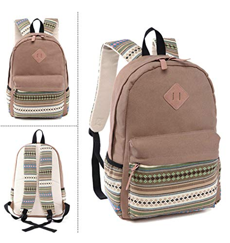 Vhvcx H Unisex Backpack Travel Tribal National Embroidery Leisure Daily Female Teenager Ethnic Canvas Backpack RcTRwOqr7