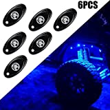 1000 led light kit - OVOTOR 2inch Aluminum Blue Rock Light with 6 pods LED Under Light Kits for Jeep RZR 1000 SUV Truck UTV Underbody Glow Light