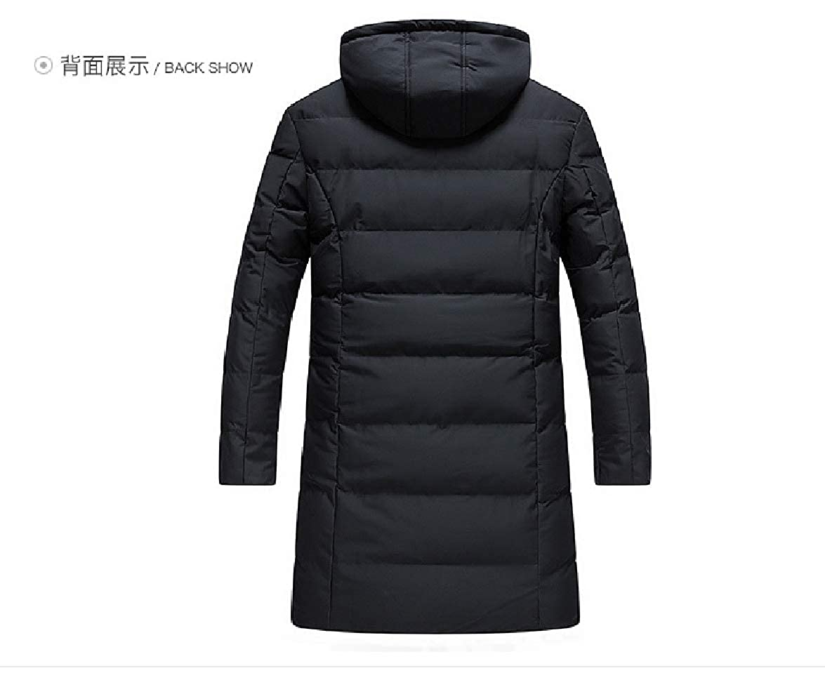 Abetteric Men Hoodie Thickening Cotton Relaxed-Fit Solid Overcoat Outerwear