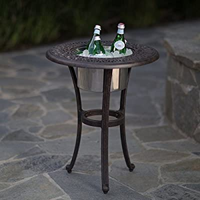 Elegant And Versatile Beverage Cooler Side Table with Stainless Steel Bowl
