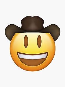 """Cowboy Emoji Sticker - Sticker Graphic - Auto Wall Laptop Cell Phone Bumper Sticker - 5"""" Sticker"""