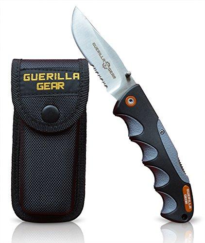 Guerilla Gear Folding Knife With Belt Sheath, Non Slip all Weather Grip by Guerilla Gear