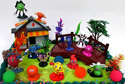 PAC MAN 22 Piece Birthday CAKE Topper Set Featuring Random Pac Man Figures And